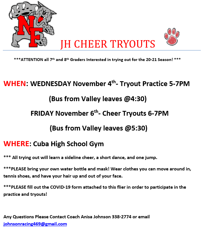 JH Cheer tryouts flyer