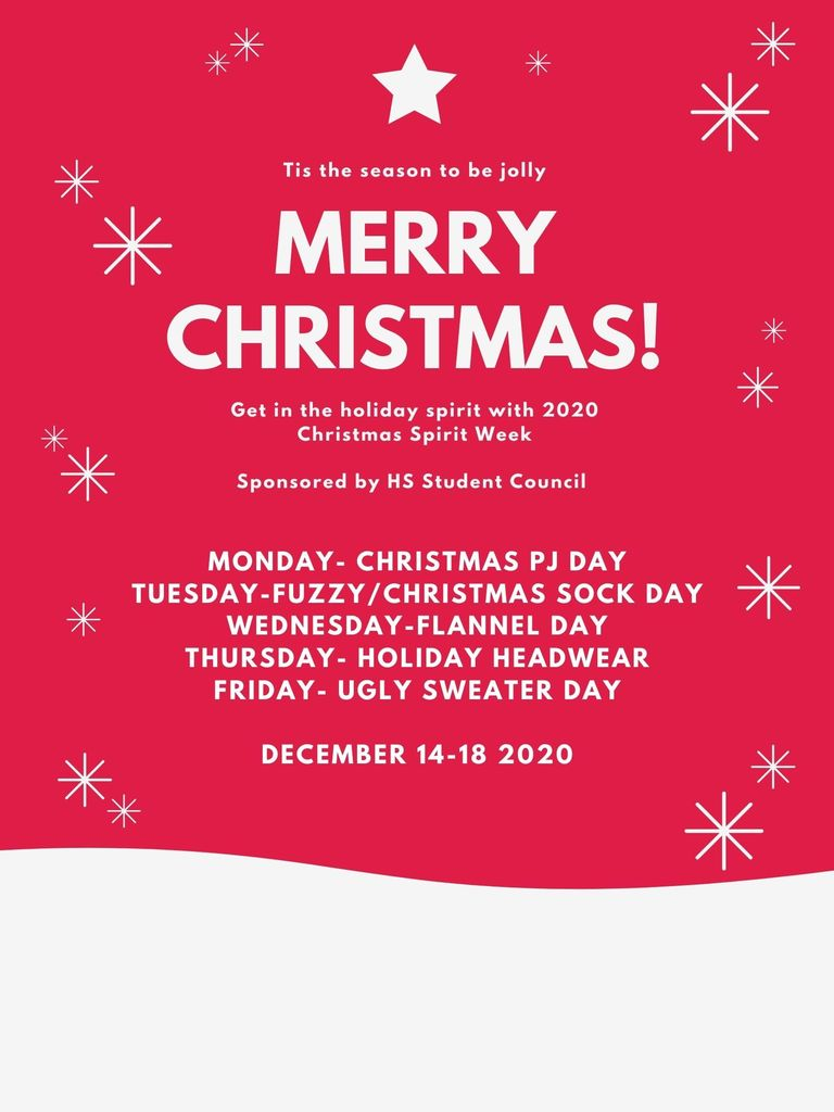 Christmas Spirit Week Dress-Up Days