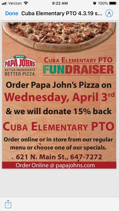 PTO Pizza Night at Papa Johns