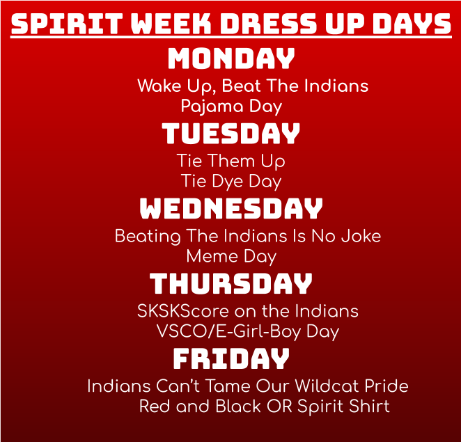 Flyer for dress up days 2020.