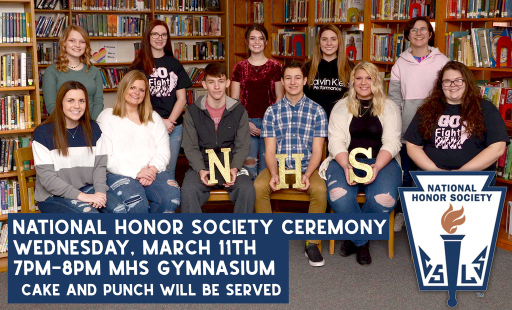 Picture of the 2020 National Honor Society inductees. Text overlay:  ceremony will be held on Wednesday, March 11th from 7:00-8:00pm at the Cuba Middle/High School gymnasium. Cake and punch will be served. Students pictured: Kaylann Beekman, Sloan Miller, Taylor Lester, Alexus Markley, Elizabeth Markley, Mackenzie Kolodziejski, Quentin Gilpin, Miranda Viano, Abigail Corsaw, Emma Utsinger and Graci Sharping.